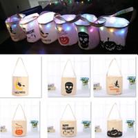 Хэллоуин украшения конфеты ведро сумка из светодиодов ночь холст сумка сумка мультфильм сумка для хранения для тыквы призрак череп подарок партии HH9-2314