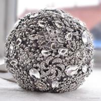 Broche de cristal luxueux bouquet ivoire gris cristal perles Bouquet de mariage satin de mariage bouquets de mariée accessoires de mariage