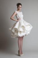 2019 New Bateau Sleeveless A-Line Mini Strand Hochzeit Brautkleider Krikor Jabotian Organza Rüschen Short Wedding Dress