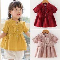 ropa de bebé niña manga corta cuello redondo camisa de colores sólidos niños causal 100% algodón niña causal camiseta