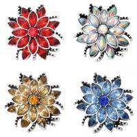10PCS / 많은 고품질 스냅 버튼 보석 라인 석 다채로운 꽃 18mm 스냅 버튼 맞춤 팔찌 목걸이 DIY 쥬얼리
