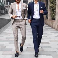 고급스러운 웨딩 턱시도 남성 정장 슬림 맞춤 신랑 턱시도 두 조각 들러리 복장 신랑 복장 저렴한 정장 비즈니스 재킷