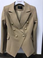 2017 Fashion Woman Luxuxentwurf New Twill Wolle Blazer mit Silber zweireihiger Buttons nehmen Blazer mit Klappentaschen