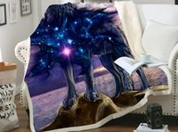 Wolf Star Heart Printed Plush Throw Blanket Bedspread For Ki...