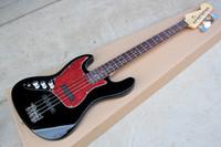 Nuevos 4 cuerdas de palisandro zurdo de la guitarra eléctrica con la Red Pearl golpeador, herrajes cromados, 2 pastillas, ofrecer personalizar