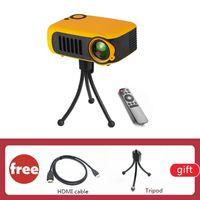 A2000 Mini Proyector LCD portátil más pequeño que iPhone con trípode 1000 lumens 1080p Beamer SD CARD USB Home Theatre Video Proyector vs UC18
