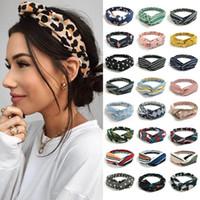 Fashion Bohemian Silk Hairbands Imprimir Headband para Mulheres Meninas Retro Cross Nó Turbante Bandanas Senhoras Headwear Acessórios