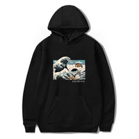 Anime wave and chinchilla Hoodie men's Hayao Miyazaki cartoon men's and women's cartoon clothing autumn and winter Sweatshirt DHBOWY40