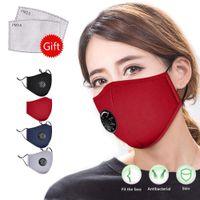 Återanvändbara ansiktsmaskar Svart med fliter Värde Kolfliter Anti Dammsorteringsduk Ansiktsmask Individuellt paket FY0016
