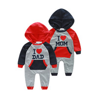 I Love Dad Mom Infant Baby Boys Girls Hooded Jumpsuits Rompe...