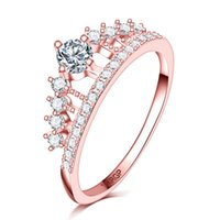 Piena pietra di zircone chiaro diamante Princess Queen 18k francobollo oro rosa riempito Crown Ring wedding donne ragazze anillo