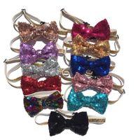 Pet réglable Sequin Bow Tie Chien Chat Collier de cou Toilettage Accessoires pour animaux Fournitures Produit de Noël