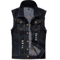 Denim Vest Erkek Kolsuz ceketler Moda Jeans Yelek İçin Erkek Tank Top Kovboy Erkek Ripped Ceket Plus Size 6XL Yıkanmış
