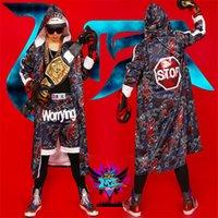 Uomini New Boxe Abbigliamento stampa Coat Pantaloncini DS costumi di prestazione di DJ Visualizza promenade del partito di 3pcs Set (top + shorts + mantello)