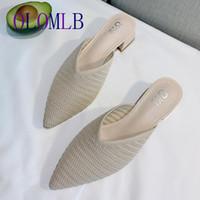 Обувь платье 2021 Мода вязание бабочки Женщины тапочки заостренный носок блок пятки леди мулы черный абрикос высокие каблуки горки A975