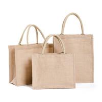4 Tamaño yute Eco Bolsa de compras reutilizables muchachas de las mujeres de gran capacidad de Bolsa de la compra plegable portátil de almacenamiento de asas del bolsillo de Dropship