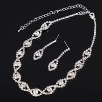 FEIS Personnalisé tordu feuilles strass brillant accessoires de mariée mariage argent plaqué collier boucles d'oreilles chaîne ensemble accessoire de mariage