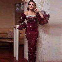 Выпускные платья русалка 2020 длинный рукав Саудовская Аравия бисероплетение бисер для женщин Sexy бисером официально партия вечера Ночь платья Платье де фиеста