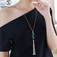 Kadınlar Takı Hediye-Y için yeni Geliş Kristal Saçaklı Triko Zinciri inlayed Turkuaz Kolye Yüksek Kalite Moda Gümüş Zincir Charm kolye