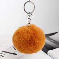 Fluffy Pompom Real Rabbit Fur Ball Key Chain Women Trinket P...