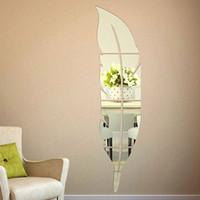 Muurstickers 1 st Feather vorm Spiegel Slaapkamer Woondecoratie Plastic Zelfklevende Film Accessoires 3D-Sticker