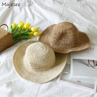 Kepçe Şapkalar Kadınlar Hasır Şapka Güneş Plajı Katlanabilir Katı Basit Hepsi maç Trendy Günlük Kore Stil Dome Casual Bayan Bayanlar