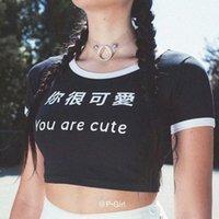 Stil Mürettebat Boyun Letter Sen Yani Sevimli Kadın Giyim Moda Stil Gündelik Giyim Bayan Yaz 2020 Desinger Tshirts Kısa Are yazdır