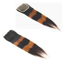 Chiusure di colore per pianoforte Straight Brasiliano indiano indiano Malonesian Monofoliano non trasformato Human Human Remy Hair 4x4 Chiusura in pizzo 12-20 pollici
