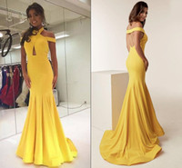 Yellow Satin Mermaid Vestidos Halter Off The Shoulder Sexy Backless Mermaid Prom Vestidos Vestido Longo Formal vestido de trem da varredura