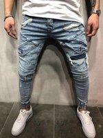 Yüksek Street Pantolon Erkek Tasarımcı Biker Denim Mavi Kot Bahar Sonbahar Pantolon Yırtık Draped Cepler
