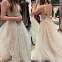 빈티지 비치 웨딩 드레스 새로운 디자인 스파게티 스트랩 Backless 라인 Tulle 레이스 국가 보헤미안 저렴한 여름 웨딩 드레스