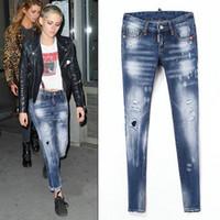 İtalya marka D2 Bayanlar Stretch İnce Denim Düz Biker Skinny Jeans pantolon Ripped Seksi Skinny Jeans Bayan Slim Fit Kot Pantolon Ripped