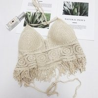 2019 été Hot Beach Holiday Crochet Camis Femmes Sexy Tassles Halter Camis Lady Seaside
