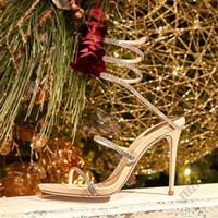 2019 récent talon haut RENE CAOVILLA CRYSTAL Karung or rose snakelike sandales strass Twining talons épais femmes d'été