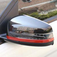 자동차 백미 미러 커버 장식 트림 스티커 메르세데스 벤츠 C W204 2010-13 E W212 2009-15 탄소 섬유 색상 데칼