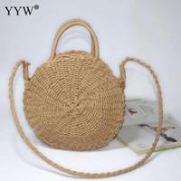 529556fa0 Beige Rattan Woven Summer Beach Bag Straw Knit Handmade Round Lady'S bolso  de gran capacidad de hombro de la mujer Messenger Bag Moda