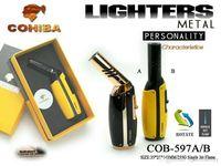COHIBA Многофункциональный Пламя Зажигалка Может Повернуть Голову Ветрозащитный Многоразового Бутана Газовая Струйная Зажигалка Два Цвета Факел W / Подарочная Коробка