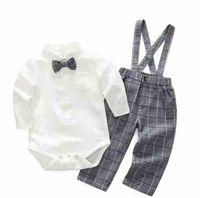 ropa del bebé del mameluco de caballero conjuntos rechazan cuello de manga larga a cuadros de romper + Pant 100% mameluco del algodón de los niños ropa de primavera otoño