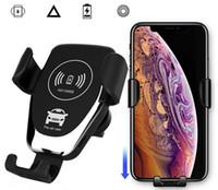Perakende Box-1 ile iPhone Samsung Qi Şarj Adaptörü için Kablosuz Araç Şarj 10W Kablosuz Şarj Araç Montaj Hava Firar Telefonu Tutucuları