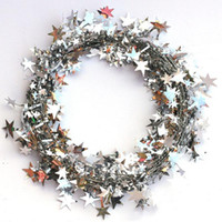 5 M 5colors Arbre de Noël Décor suspendu étoile pin Tinsel étoiles rotin Garland Noël à la maison Ornement Décoration