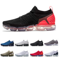 nike air vapormax flyknit 2 Neue Kissen Laufen Sportschuhe Laser Orange Weiß Schwarz Gym Blau Neutral Oliv Chrom Dunkelgrau Walking Outdoor Frauen Männer Sport Sneaker