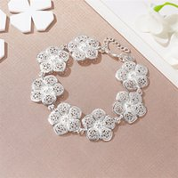 New Fashion SIlver Plated Bracelets Flower Bangles Flower Ch...