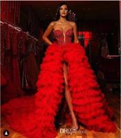Rouge chérie Paillettes Perles Top bling haute fendus Une ligne Robes de bal 2020 Tulle Layered Ruffles balayage train Robes de soirée Custom Made