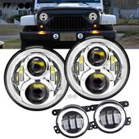 """7 """" дюймовый круглый светодиодный гало лампы лампы для JK TJ LJ H1 H2 LED фары проектор DRL для автомобиля"""