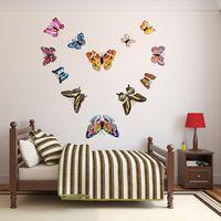 12pcs / 세트 3D 이중층 빛나는 나비 벽 스티커 홈 장식 DIY 나비 냉장고 스티커 룸 장식