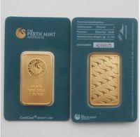 New 1 Unze Australien Perth Mint Gold 24K Bar Münzen Qualität Kopie Kollektionen Souvenirs Weihnachtsgeschenk Grün Siegelpaket
