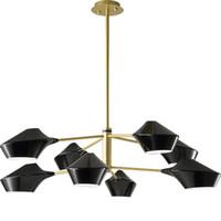 Loft moderne concepteur rotatif têtes led lustre art minimaliste affaire chambre salon hôtel suspension luminaires