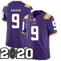 LSU 호랑이 Burreaux Football Jersey 다이아몬드 패치 2020 Peach Bowl Playoff College 9 Joe Burrow Nickname Beckham