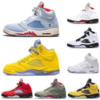 New 5s Trophy Room Ice Blue Herren Basketball Schuhe Black Grape Metallic White Fire Red Retro Olympia Gold Designer Turnschuhe Größe 13