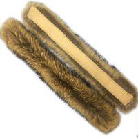 Frauen Kinder High-End Große 100% Echt Waschbär Pelzkragen Schal Edle Echte Volle Fuchspelzkragen Schal Wrap Hut Streifen Schals
